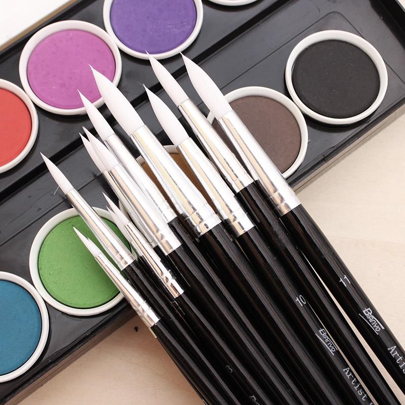 Bianyo 12Pcs Round Shape Watercolor Brush Nylon Hair Brush Artists Paint Brush Set For School Acrylic Gouache Paint Art Supplies