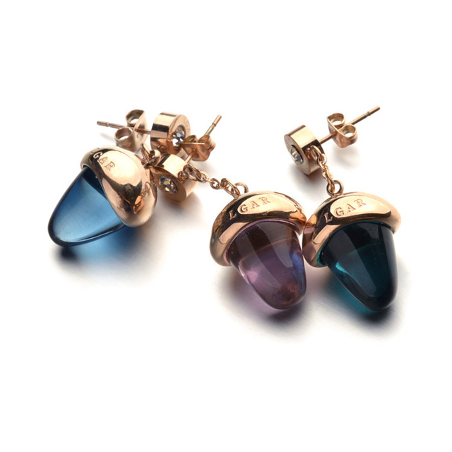 Free Shipping Hot Cute Design Crystal Acorn Earring With Brand Name Fashion Drop