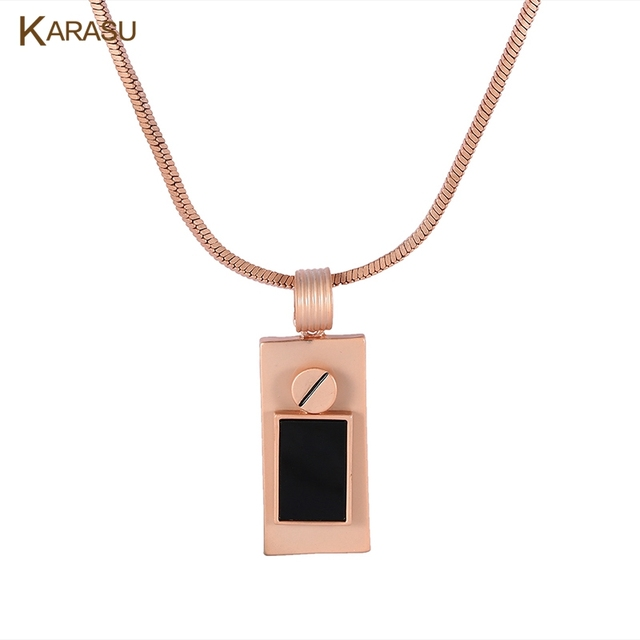 Vintage Punk Matte Rose Gold Plated Double Rectangle With Black Rhinestone Snake Chain Necklace for Women Girls Jewelry