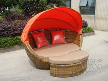 2pcs Building Balcony Waterproof Outdoor Rattan Daybed transport by sea