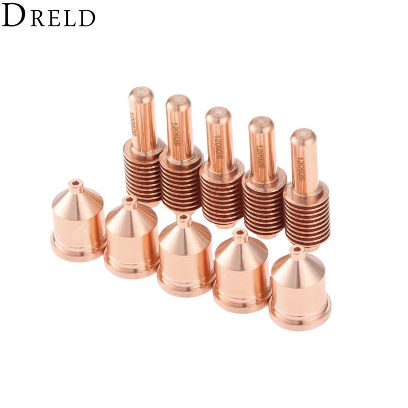DRELD 10pcs/set 80A Electrode 120926 +Nozzle 120927 Shielded Processes for Plasma Cutting Torch Consumables Welding Supplies