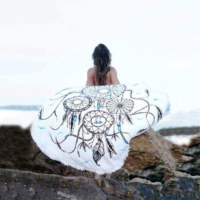 Dreamcatcher Impreso Beach Cover Up Bikini Boho Vestido de traje de Baño Traje de Baño