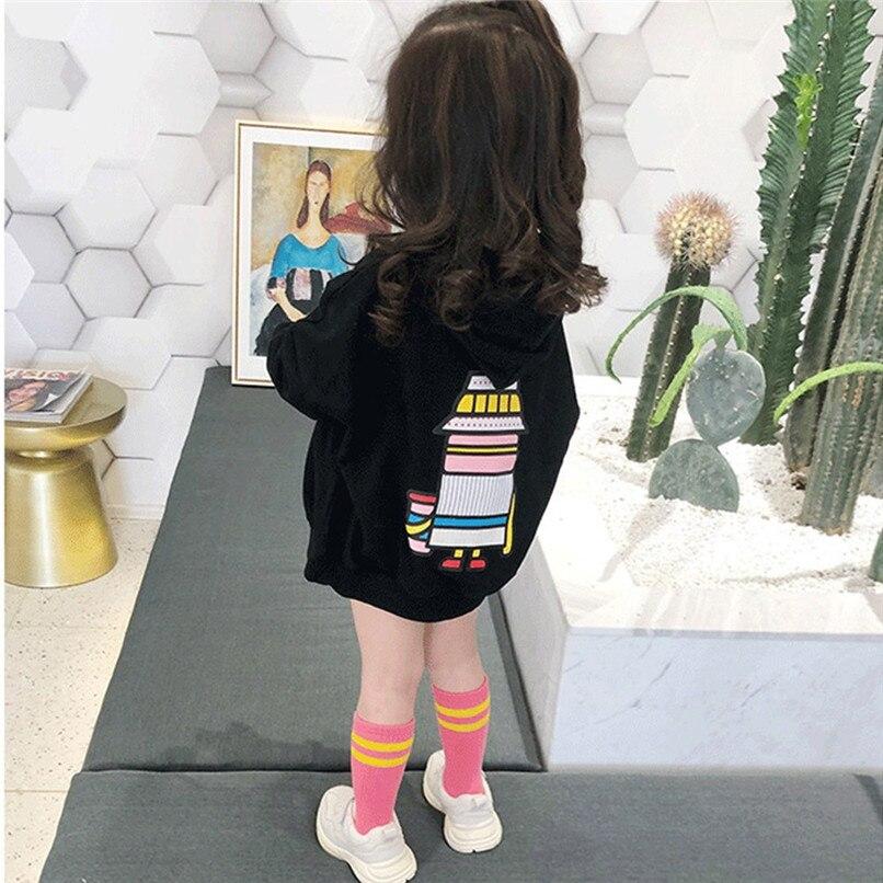 1 Stück Kinder Kleidung Kinder Hoodies Kinder Baby Mädchen Langarm Cartoon Roboter Gedruckt Mit Kapuze Sweatshirt Tops Mädchen Hoodies N01 # F GroßEs Sortiment