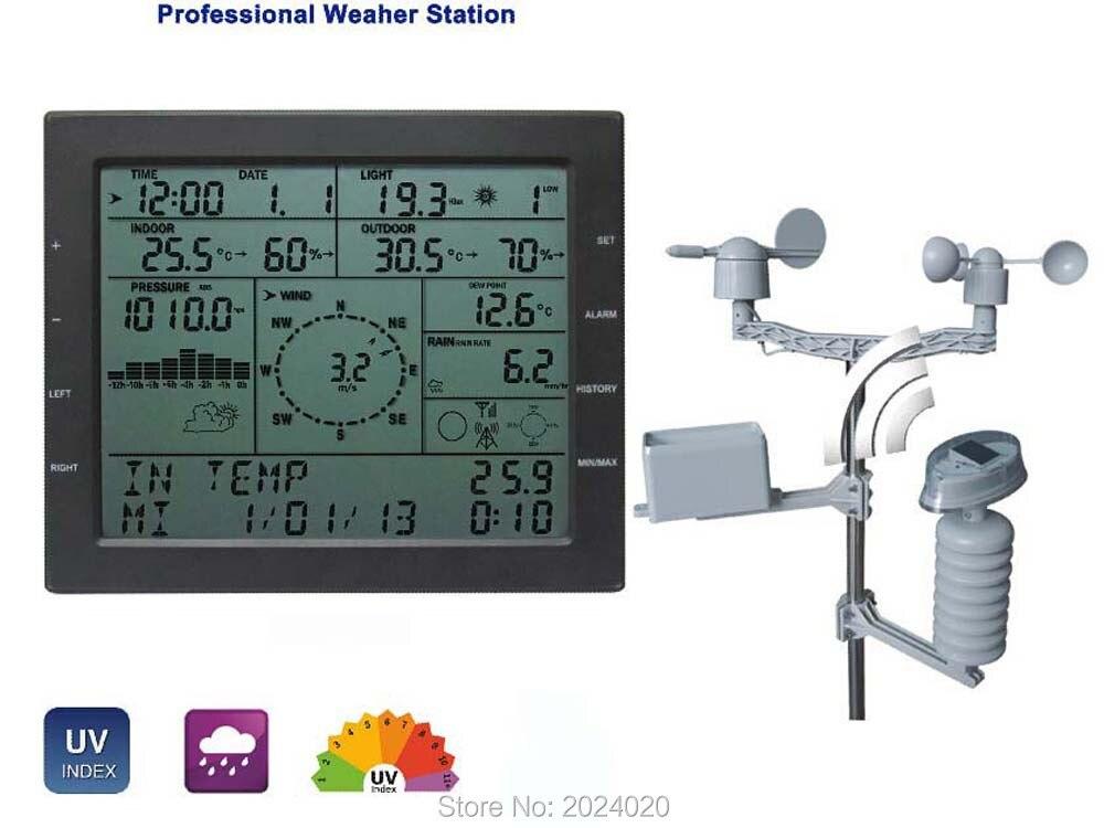 MISOL/stazione meteo professionale/velocità del vento direzione del vento pioggia di pressione del tester di umidità di temperatura UV