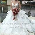Высокое качество свадебные платья Noiva 2016 уникальный вышивка кружева видеть сквозь длинный шлейф свадебные платья халат де mariée Casamento