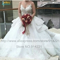 Alta qualidade Vestidos De Noiva 2016 único bordado lace ver através voltar Long train Vestidos De Noiva Robe De Mariee Casamento