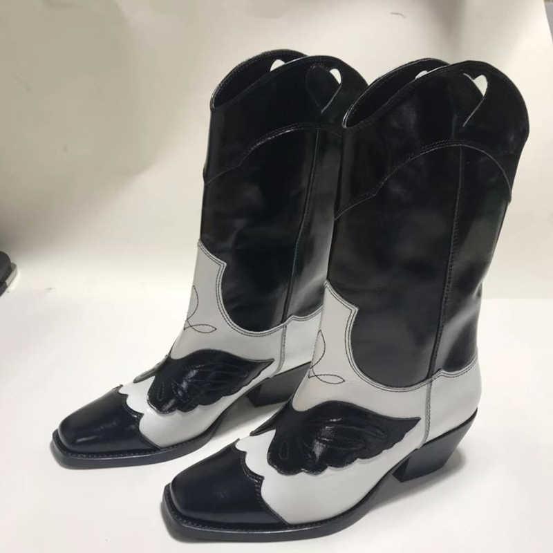 Sonbahar Patchwork siyah şövalye çizmeler kadın kare ayak yavru kedi topuklu nakış kelebek hakiki deri diz yüksek çizmeler kadınlar için