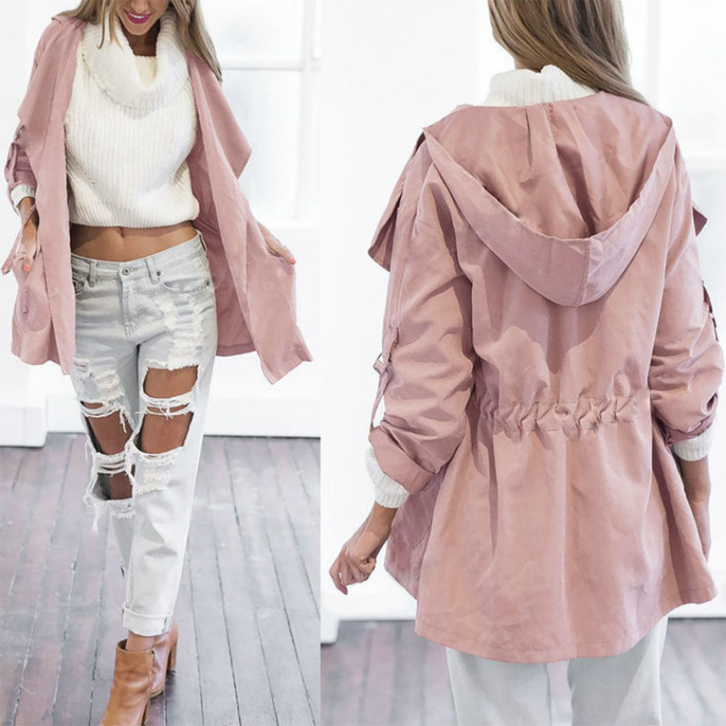 New 2018 Women Jack Autumn Coat Jacket Casual Long Sleeve Hooded Elastic Waist Pocket Kimono Female Loose Outwear ...
