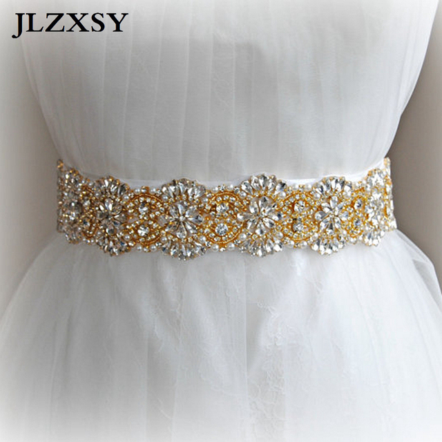 JLZXSY Gold Pearls Beaded Rhinestone Crystal Rhinestone Wedding Belts  Bridal Sash Belts Fashion Bridal Sashes ( 863ba5aafaa1