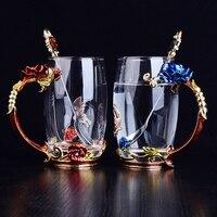 LUXURY Rose Cup Enamel Crystal Glass Tea Cup Heat Cup Juice Cup Couple Cup Set