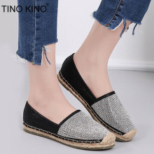 TINO KINO Women Sequined Cloth Flat Autumn Loafers Espadrilles Female  Fashion Crystal Slip On Straw Shoes cb23079ba577