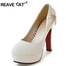 98d1ebe3 Zapatos de gato REAVE mujer tacones altos señoras bombas plataforma Bowtie  Rhienstone brillo punta redonda talla grande 32-43 bl.
