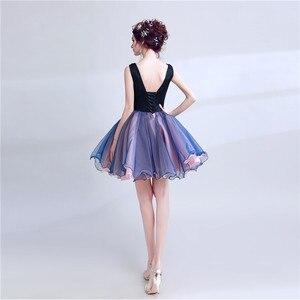 Image 4 - Robe de soirée Sexy violette, col en v, en dentelle, perles appliquées, robe courte de soirée, robe de soirée, Banquet, XK54