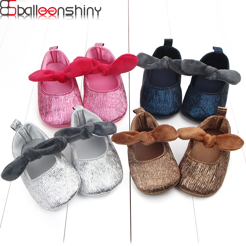 BalleenShiny Lovely Soft Baby Girls Shose Toddler Candy Color Bowknot First Walkers Infant Princesses Moccasin Bottom PU Shoes