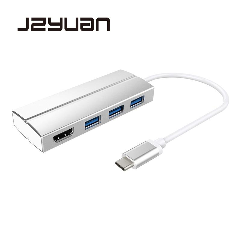 JZYuan USB 3.1 USB Type C to HDMI USB 3.0 Hub Adapter USB C 3.1 Male to HDMI Female 4K 30HZ Video Converter for Macbook Air Pro стоимость