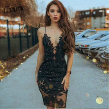 Sheath Spaghetti Straps Cooktail Dresses Black Beaded Short Prom Dress with Lace Homecoming Dresses