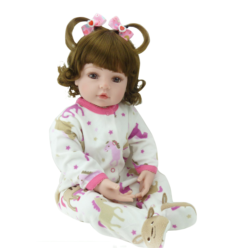 2018 New Cute Reborn Silicone Doll Adora Girl Doll Sweet Baby Doll Birhtday Gift Toys For Girls Curly Wig Hair Lovely Doll Toy handmade 18 cute china girl doll reborn baby doll sd bjd doll best bedtime playhouse toy enducational toy for girls as gift