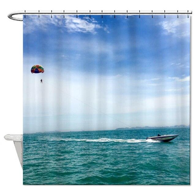 Blue Sky Zee Boot Douchegordijn Hoogwaardige Polyester Stof Gordijn ...