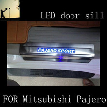 Car-Styling FOR Mitsubishi Pajero 2012 2013 2014 2015 2016 stainless steel scuff plate LED door sill accessories Car Styling