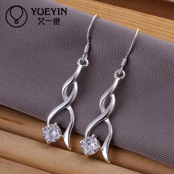 Big Crystal earrings Wholesale silver plated long Dangle earrings for women wedding jewelry nausnice for girlfriend