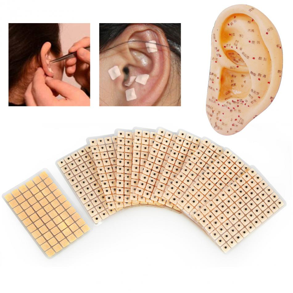 600Pcs Disposable Ear Press Seeds Medical Acupuncture Vaccaria Plaster Bean Ears Stickers Acupoint Massage Ear Massage Sticker