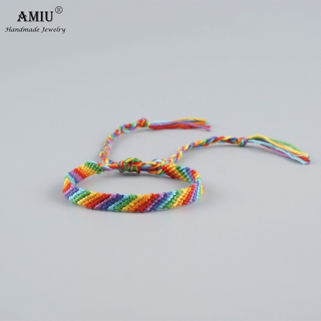 4c558bf87c84 € 1.88 20% de DESCUENTO AMIU Arco Iris pulseras de la Amistad hecho a mano  de algodón tejido pulseras de la Amistad Macrame pulsera estilo Boho ...