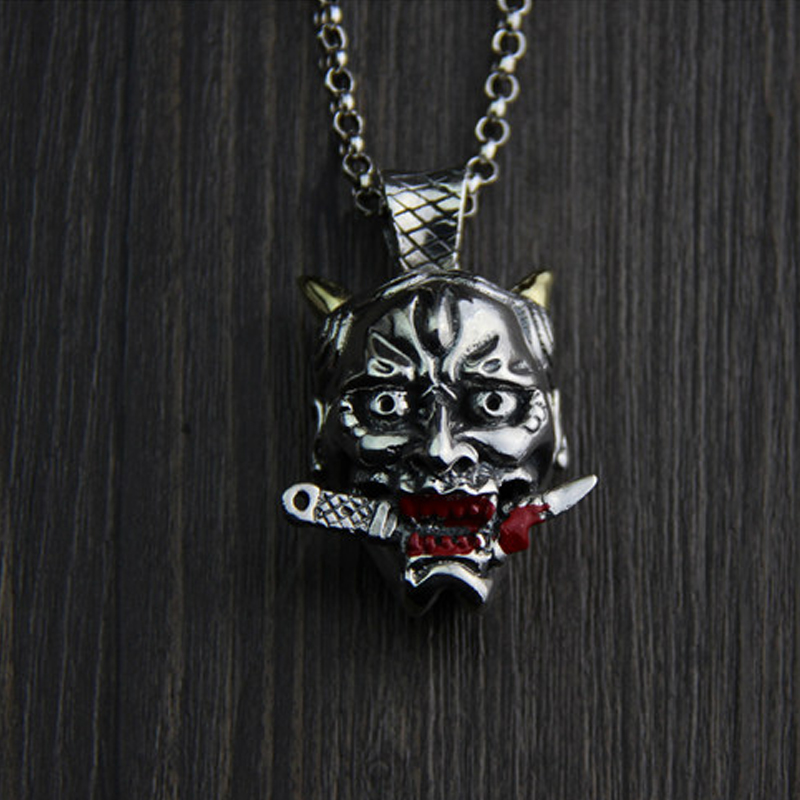 JINSE Cool 100% Sterling Silver Necklace Evil Death Pendant Gift For Kid Men Women 32*42MM 43GJINSE Cool 100% Sterling Silver Necklace Evil Death Pendant Gift For Kid Men Women 32*42MM 43G
