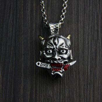 JINSE Cool 100% Sterling Silver Necklace Evil Death Pendant Gift For Kid Men Women 32*42MM 43G