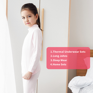 Image 5 - THREEGUN KIDS длинное термобелье; Детские Зимние хлопковые мягкие подштанники для мальчиков и девочек; одежда для сна с высоким воротом