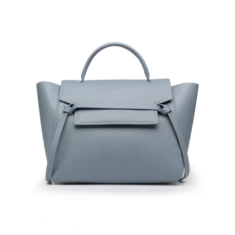 2018 Women Large Big Genuine Leather Handbag Wing Bag Trapeze Handbag Elegant Lady chain Belt Shoulder Bag Crossbody Bag in Shoulder Bags from Luggage Bags