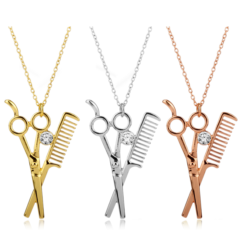 dongsheng 2017 Newest AB Crystal Metal Scissors Comb Hair salon Fashion Hairdresser Pendant 3 Colors Ball