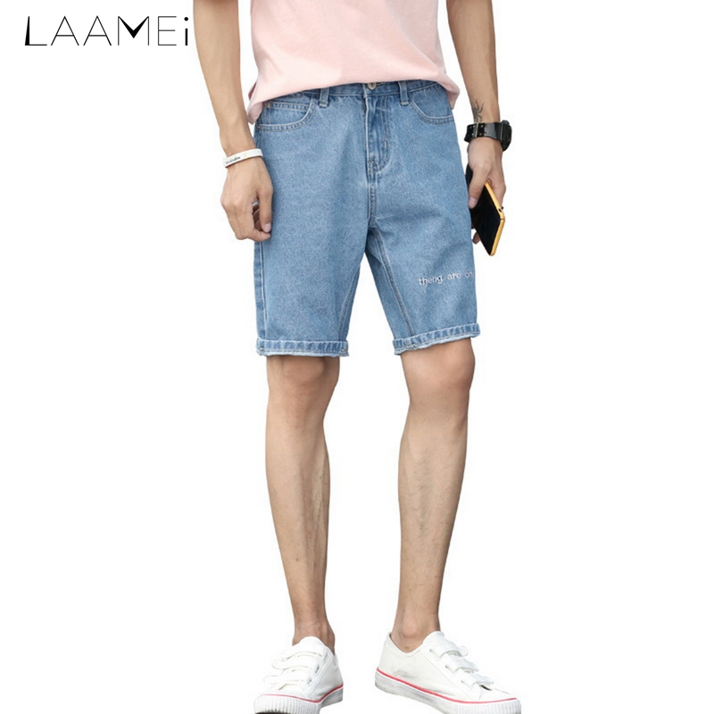 Laamei Males Knee-length Short Jeans Mid-waist Casual Solid Color Summer Straight Pants Hole Jeans Trousers 2018 Plus Size