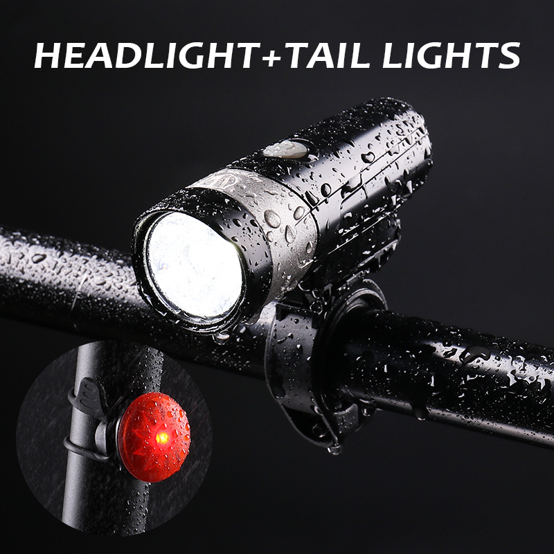 Cycling Light Sets Front and Rear Light 500 Lumens IPX4 Waterproof USB Charger MTB Road Bike Headlight Taillight LED Flashlight