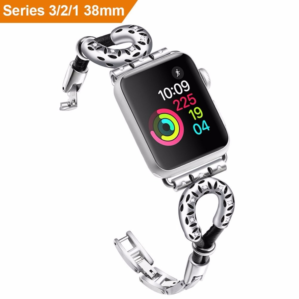 For Apple <font><b>Watch</b></font> Adjustable Replacement Stainless Steel Leather Strap Unique <font><b>Diamond</b></font> Design with Clasp For iWatch Series 3 2 1 image