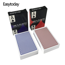лучшая цена Easytoday 10Pcs/set PVC Poker Cards Baccarat Texas Hold'em Plastic Playing Cards Waterproof Poker Entertainment Cards Board Game