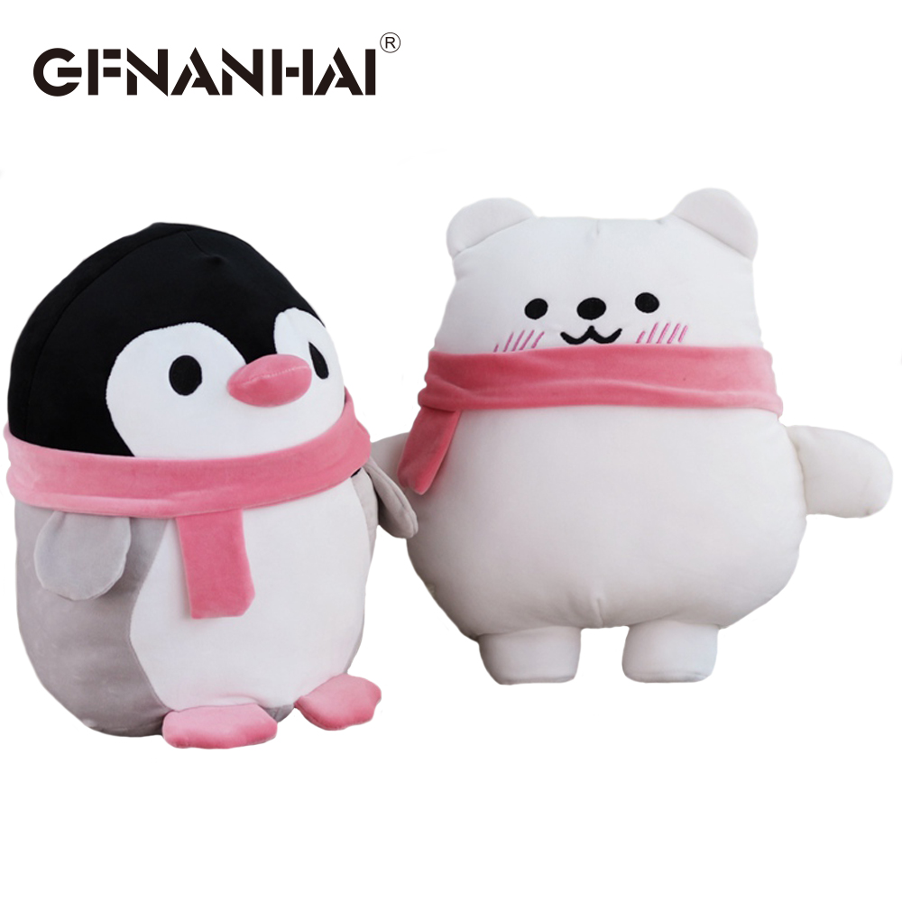 1pc 30cm cute Standing wearing scarf penguin and polar bear plush toy stuffed down cotton kawaii baby kids dolls birthday gift