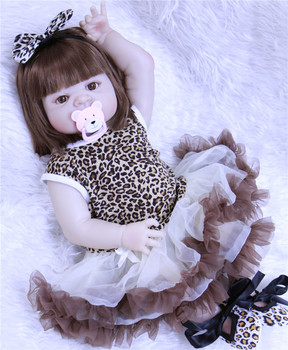 23inch 57cm Full silicone Vinyl Princess Toddler Babies Dolls model baby Girls Birthday Gift Present Child Play House Toy