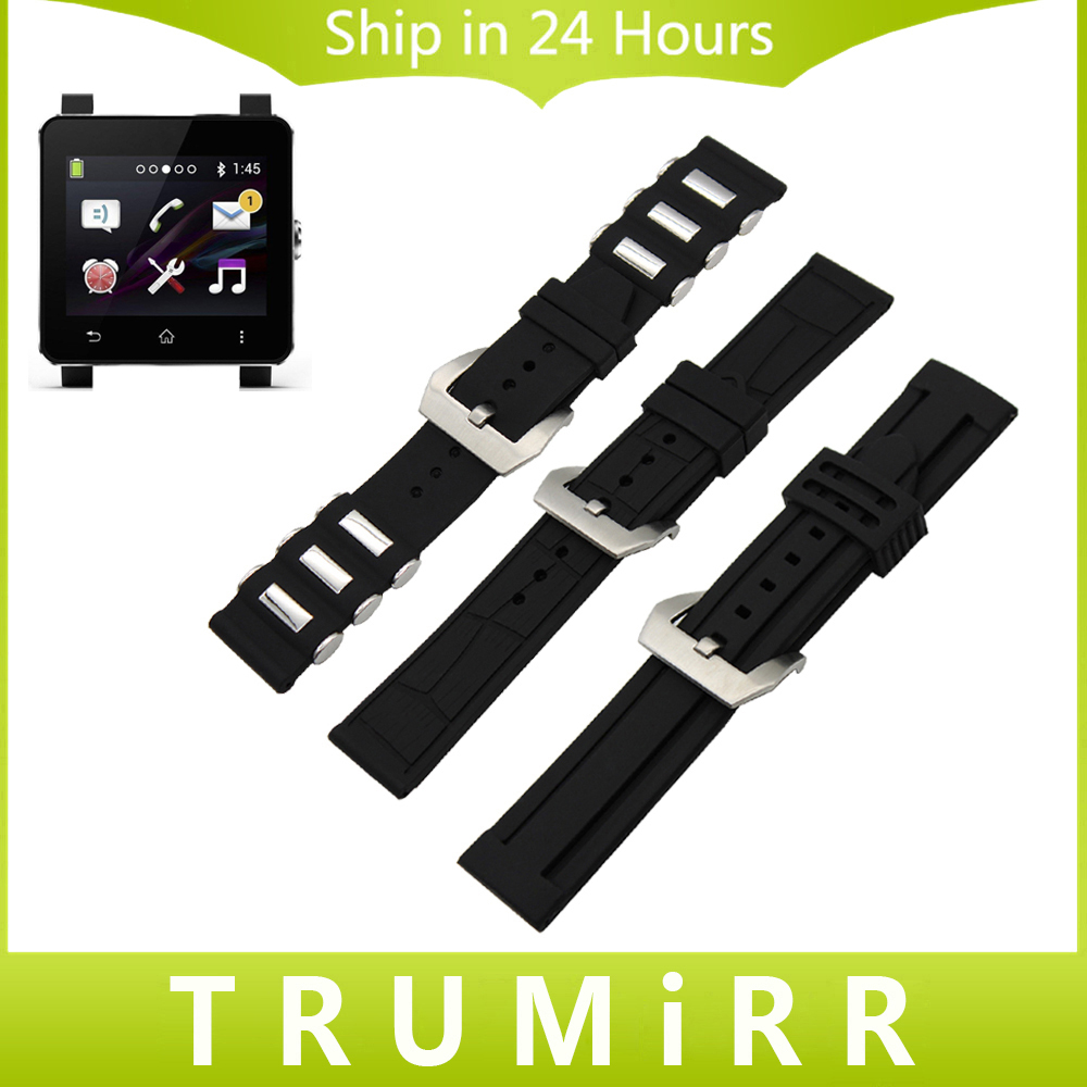 24mm Silicone Rubber Watch Band for Sony Smartwatch 2 SW2 Dual Brush 316L Stainless Steel Buckle Strap Wrist Belt Bracelet Black stylish 8 led blue light digit stainless steel bracelet wrist watch black 1 cr2016
