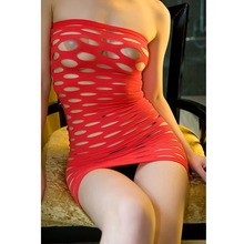 Glantop Fashion Sex Ladies Sexy Lingerie Fishnet Seamless Tube Cut Out Tight Dress