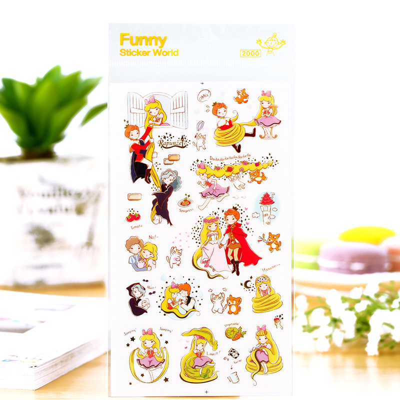 12 pcs/Lot Fairy story stickers The Rapunze Korean diary stickers for foto album mobile book scrapbooking tools Stationery F932