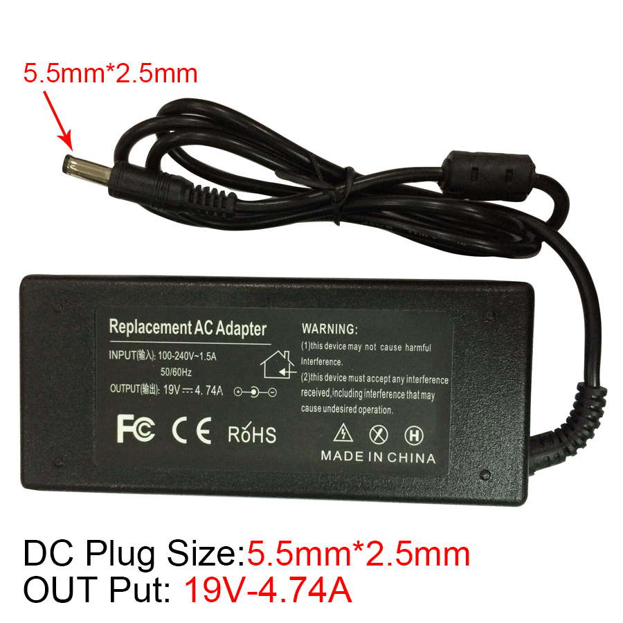 19V 4.74A AC Power Supply Laptop Notebook Adapter Charger For Asus K53 K53B K53BY K53E K53FLaptop For Fujitsu/Toshiba/HP/lenovo de li bao 19v 4 74a 5 5 x 2 5mm laptop ac adapter for asus lenovo toshiba hp black 100 240v