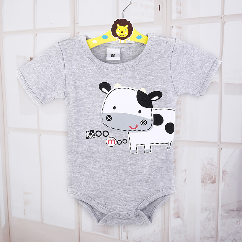 Cute Milk Cattle Cow Baby Bodysuits Grey Fashion Baby Boys Clothes 100% Cotton Dairy Milch Newborn Jumpsuit Babywear 0-2 Year