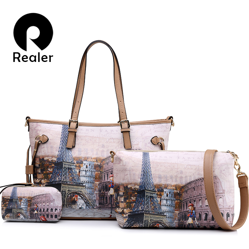 REALER brand women handbag 3 sets vintage printed tote bag large shoulder bags ladies purses women messenger bags 2017 New