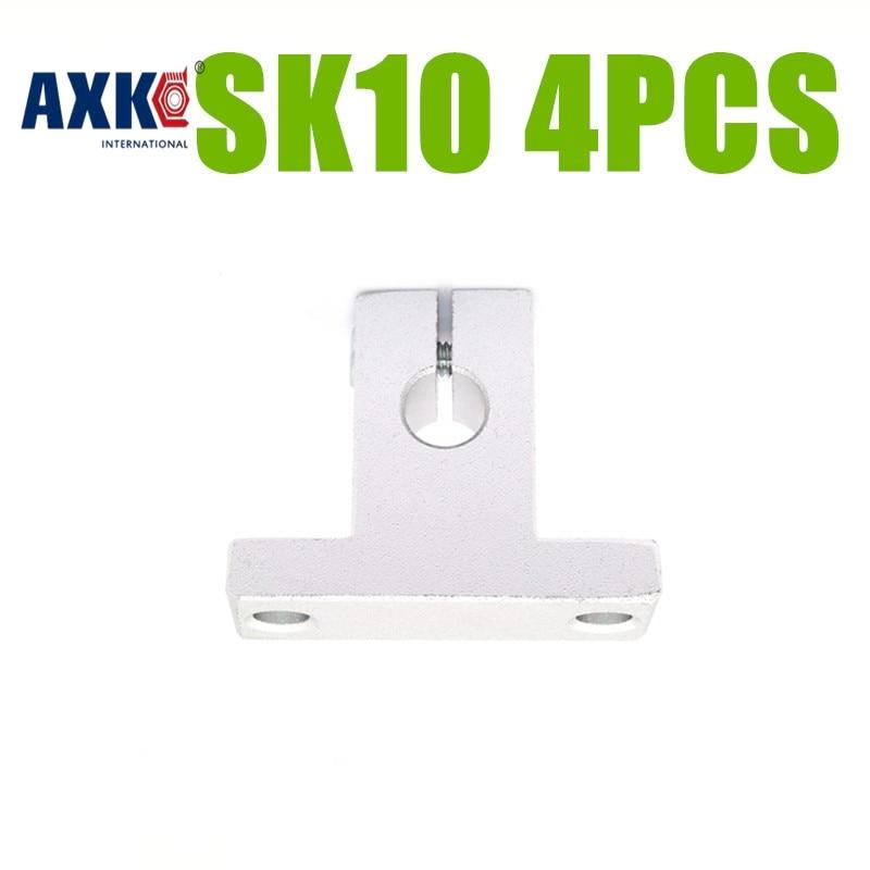 AXK 4pcs SK10 10mm linear bearing rail shaft support XYZ Table CNC Router SH10A SK10 линейный подшипник rdb 4pcs shf10 10 cnc xyz