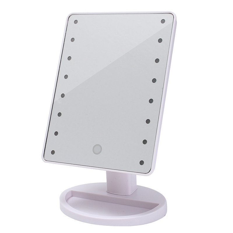 1Pc 16 LEDs Touch Light Illuminated Vanity Mirror Make Up Cosmetic Bathroom Shaving Tools Accessory Ideal Gifts For Lady