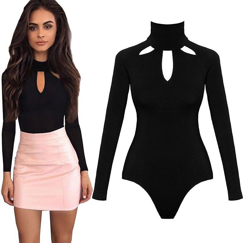 Fashion Bodysuit Women Body Suits For Women Sexy Romper Black Mock Neck Long Sleeve Hollow Out Back Bodysuit 2019 Spring Onesies
