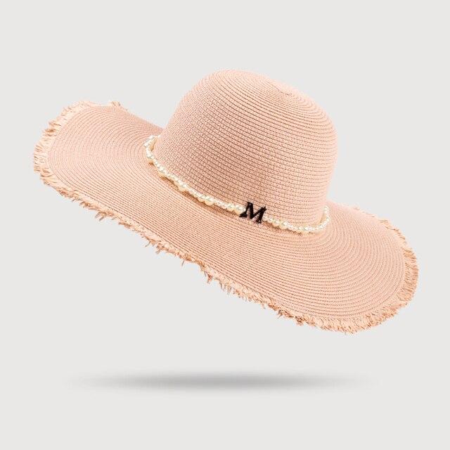 528b404a03a0c HSS Shine Newest Summer Women s Hats M Alphabet Pearl Burr Straw Hat Woman  Sunscreen Sun Beach Hat Seaside Holiday Big Hats