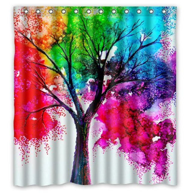 US $16.55 31% OFF|Speicher Hause Wasserdicht Badezimmer gewebe Duschvorhang  Aquarell Herbst Baum Kunst Bunte Regenbogen Baum Vier Saison Print Design  ...