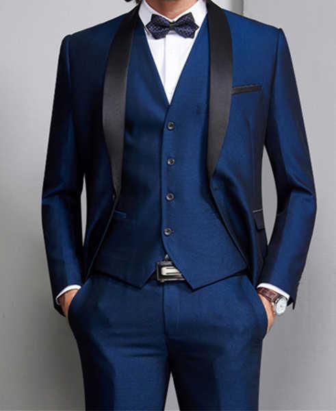 白/黒/ネイビー/ブルー/グレーコートパンツのデザインスーツ正式な結婚式のブレザーウェディング優しい新郎カスタムジャケット 3 ピース