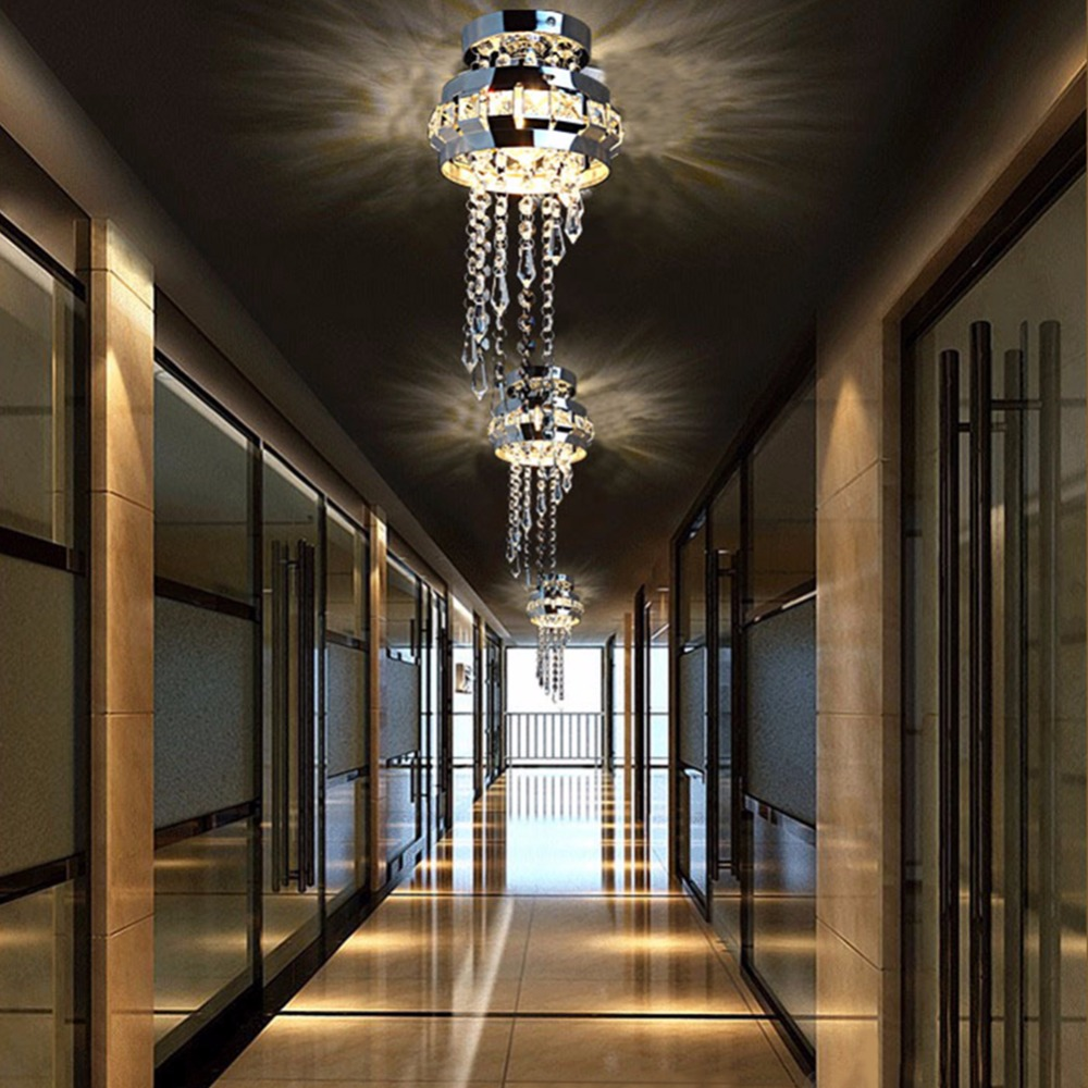 Us 25 88 lamplab led luxurious crystal ceiling lamps lamp stainless steel bedroom foyer decor chandelier light e27 g4 modern lamps in ceiling lights
